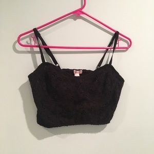 💗Black Lace Crop Tank